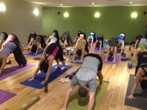 A class in session at Living Yoga