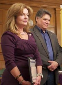 CountyExecutiveMaryEllenOdell,left,andLegislatorSamOliverio(PhotobyK.E.Foley)