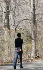 Retreat-goer in contemplative walk