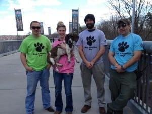 WalkwayparkstaffMikeCappuccilliJr.,left,MicheleMarkeyandShea(arescuepupandWalkwaydogambassador),GeoffTravaglineandJeffHayden(PhotocourtesyofWalkway)