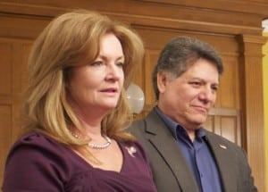 County Executive MaryEllen Odell, left, and Legislator Sam Oliverio (file photo).