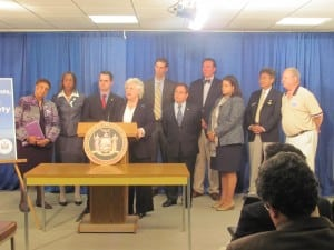 Assemblywoman Sandy Galef speaks at a press conference on new boating safety legislation May 20. (Photo provided)
