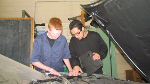 Charley Claffey, left, and Carlos Perez are juniors at Haldane studying auto mechanics at BOCES.