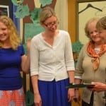 Candidate Julia Wynn, left, congratulates Garrison School Board Member Charlotte Rowe on her re-election, with outgoing Board Member Anita Prentice and Superintendent Gloria Colucci on May 21. Photo by J. Tao