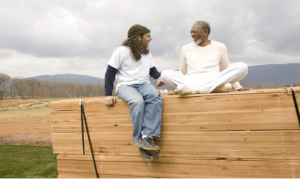 Director Tom Shadyac, left, and Morgan Freeman (Photo courtesy of First Presbyterian)