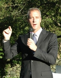Sean Patrick Maloney, campaigning for office last year; photo by L.S. Armstrong