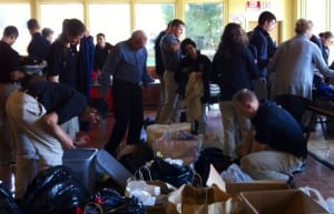 Volunteers, including 25 West Point cadets, helped prepare clothes, food and other supplies for First Presbyterian's midnight run on April 27. Photo courtesy of First Presbyterian