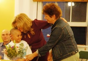 Putnam County Executive MaryEllen Odell, center, thanks PARC Preschool supporters after they presented her with flowers in her appreciation of her assistance. Photo by L.S. Armstrong