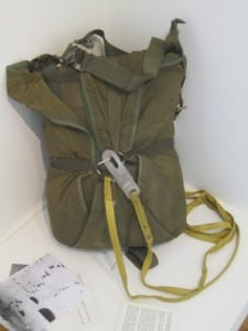 U.S. Army standard issue parachute, used after the Vietnam War by paratroopers; loaned by Stanley White.