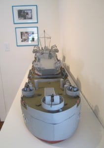Model of WWII tank landing ship with tank landing craft, handmade by Stanley White