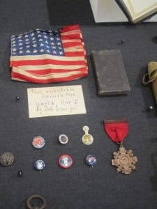 Display including flag and Bible carried during WWI by Fred Evans Jr.
