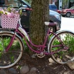 Antique bicycle on display in front of Go-Go Pops during Pedal Into Spring May 4 (Photo by Jeanne Tao)