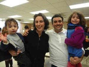 TheSpodekfamily:Abe,left,Alison,RabbiBrentSpodek,andNoaattheBeaconHebrewAlliancePurimCarnivalinMarch (PhotocourtesyofBeaconHebrewAlliance)