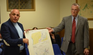 Transportation Manager Vinny Tamagna, left, and Planning Commissioner Anthony Ruggiero present a map of current transportation services in Putnam County to the Cold Spring Village Board May 7.