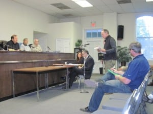 Robert Cutler, Garrison homeowner, voices opposition to the wind turbine at the Philipstown ZBA meeting May 13.