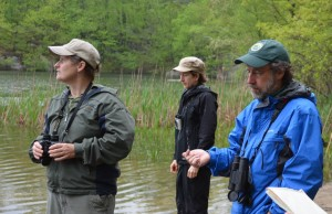 Birders listen to Audubon naturalist Pete Salmansohn at Taconic Outdoor Education Center's (no-)duck pond on May 11.