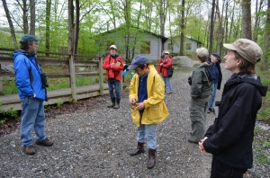 "Audubon naturalist Pete Salmansohn, left, leads the beginner birdathon on a trail at the Taconic Outdoor Education Center May 11, identifying the typical call of the confused birder: ""What the heck is that?"""