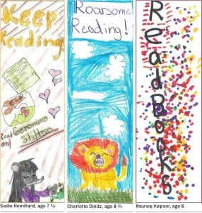 The winning designs of the Butterfield Library's bookmark contest (Image courtesy of Butterfield Library)