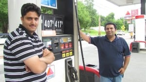 Kirmani Suye, right, said he is a new partner in the development of a Dunkin' Donuts shop at 27 Chestnut St. in Cold Spring. Sufi Ali, aka Jim Laye, left, said he will manage the donut shop and convenience store and Kenny Elmes will operate the gas pumps.