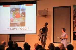 Fareground Community Kitchen's Margot Schulman presents at TEDxLongDock. Sculpture by Emil Alzamora. Photo by Dan Fiege.