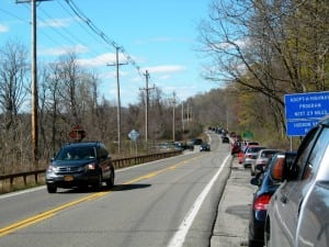 Vehicles line Route 9D near hiking trail access points. Photo by Mike Armstrong