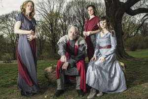 King Lear and his daughters, played by Chiara Motley, left, Stephen Paul Johnson, Eleanor Handley and Jessica Frey   Photo by Travis Magee
