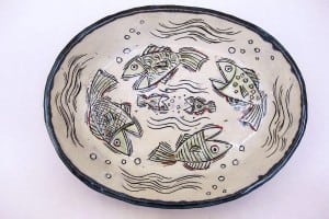 """Fish Platter"" – wood fired raku by Jennie Chein"