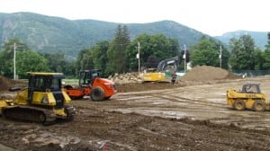 Construction of the new Haldane sports field is right on schedule.