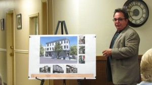 Architect Steven Tinkerman presented a concept drawing illustrating 159 Main St., and what it might look like when refurbished.