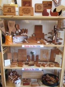 A sampling of the wooden gift items, all made in the USA, available at The Gift Hut.