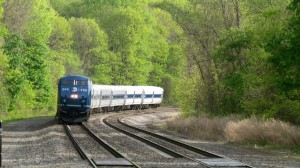 A Metro-North train stopped as it neared kayakers who were portaging across the tracks. (File photo by M. Turton)