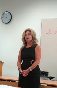 Putnam County Executive MaryEllen Odell welcomes participants in the hearing. Photo by L.S. Armstrong