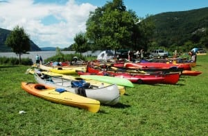 Canoes from the Two Row Wampum Renewal Campaign paddling journey at Dockside Park in Cold Spring. Photo by Liz Schevtchuk Armstrong
