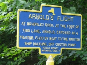 Historical marker of Arnold's Flight on Route 9D  Photo by R. Soodalter