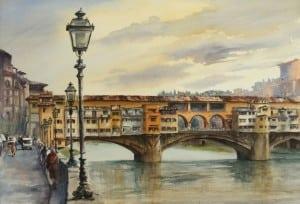 """""""PonteVecchio,Florence,""""awatercolorbyAmandaEpstein (PhotobyEdwardEpstein)"""