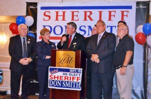 Sheriff Donald B. Smith declaring his victory on primary night (photo provided by Smith campaign)
