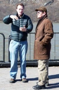 Steve Ives, left, down at the Cold Spring waterfront with visiting Depot Docs subject Philippe Petit in 2009. (Photo by Erika Wood)