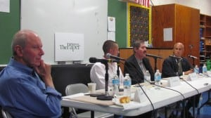 (L to R) Moderator Gordon Stewart and candidates for Town Board Lee Erickson, Mike Leonard and John Van Tassel at Monday's forum held at Haldane.