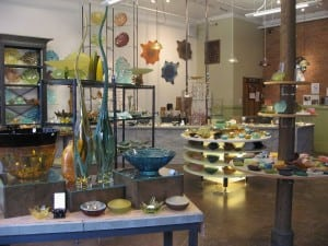 The front room gallery of Hudson Beach Glass today.