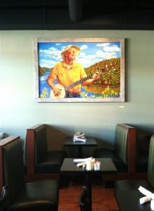 A new painting of Pete Seeger by Michael D'Antuono in the Towne Crier Cafe.