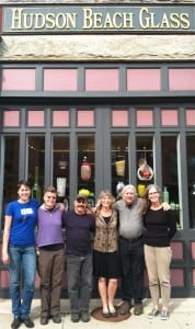 The team at Hudson Beach Glass in front of their Main Street gallery. From left, Kathleen Andersen, Jennifer Smith, Michael Benzer, Wendy Gilvey, John Gilvey, Janet Griffin. Photo by S. Hixson