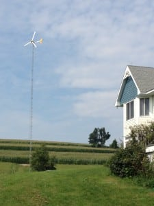 The residential-type wind turbine proposed by James Gleick for his property (photo courtesy of Hudson Valley Wind Energy)