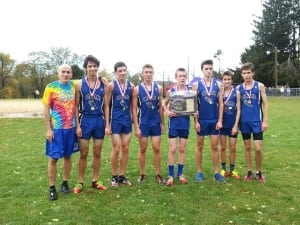 The Haldane boys' cross-country team with Coach TK.