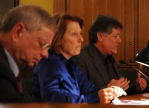 Legislators Barbara Scuccimarra, center, and Sam Oliverio, right, with Clement Van Ross, legislative counsel, left. (photo by L.S. Armstrong)