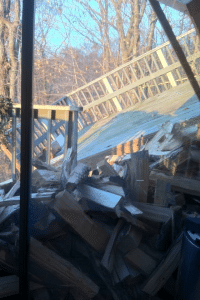 The collapsed deck