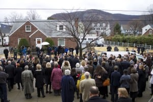 Mourners outside Loretto following the burial mass. (Photo by K.E. Foley)