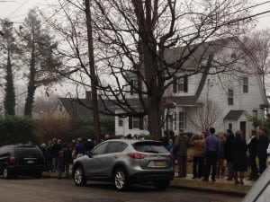 A long line of friends gathers outside the Clinton Funeral Home in Cold Spring Thursday afternoon.(Photo by Michele Rubin)