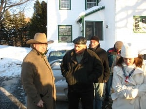 George Whipple, left, founder of Tilly Foster Farm, as he prepares to show Putnam County officials around the farm in 2008. Then county legislator, now County Executive, MaryEllen Odell, at right.