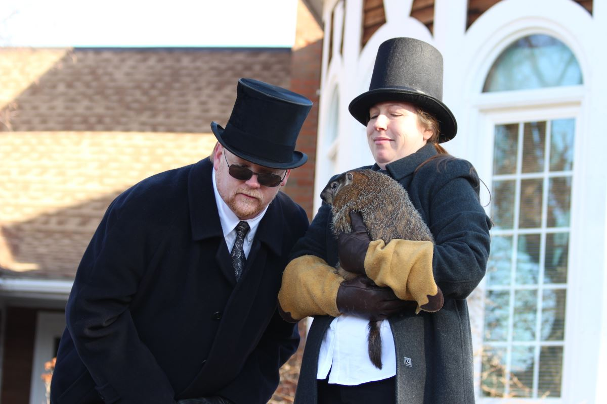 Prognosticating at the 2013 Groundhog Day Celebration at the Wildlife Education Center. (Photo by Maureen Moore)