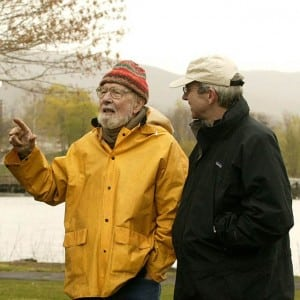 Pete Seeger with Scenic Hudson President Ned Sullivan at a Scenic Hudson community event.